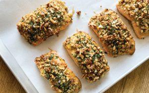 Gundalow Gourmet's pecan crusted salmon with herbs de Provence and Dijon mustard.