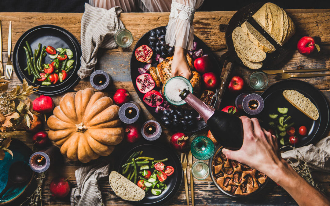 A Thanksgiving table setting for two