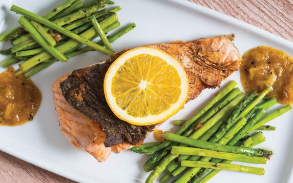 Orange-ginger glazed salmon